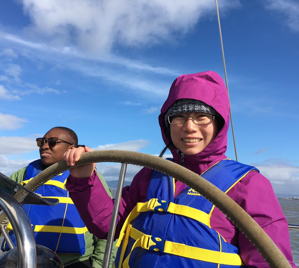 Joanna and Pearl at the helm